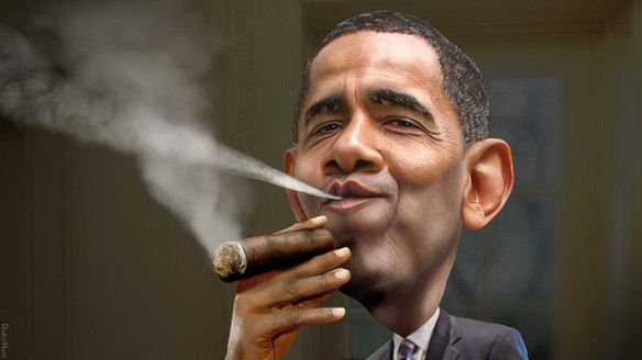 """Barack Obama - Enjoying a Cuban"". Foto:  Donkey Hotey"