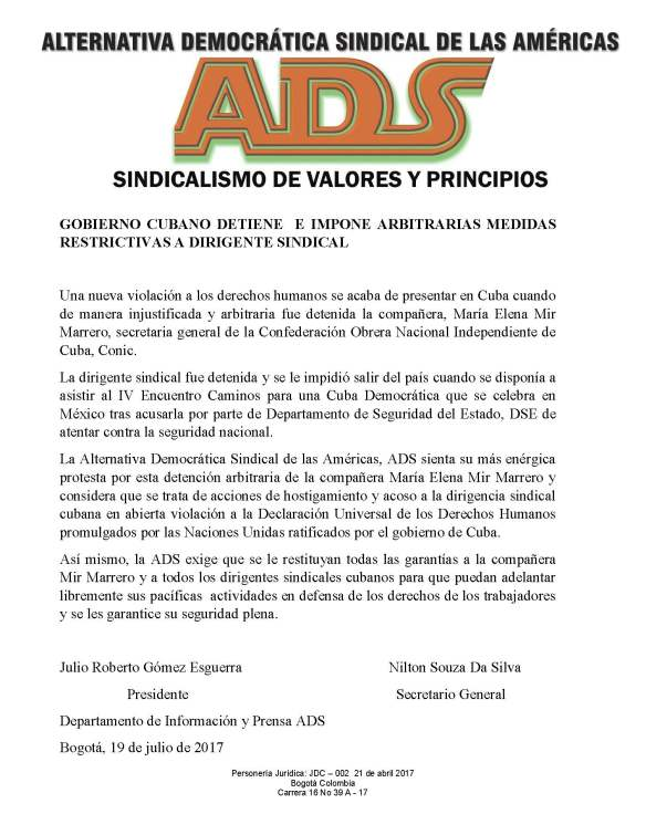 ADS frente a detención de lider cubana